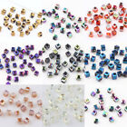 Faceted Square Cube Cut Glass Crystal Charm DIY Finding Loose Spacer Beads 2MM
