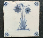 Antique Dutch Delft Tile Double-Flower 17th C.