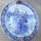 LARGE BOCH FLOW BLUE WINTER SLEIGHT LARGE 15 INCHES PLATTER WALL PLAQUE PLATE