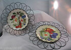 Set of 2 Vintage Hand Painted Fruit Plate With Hangers