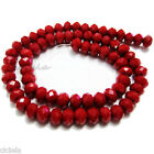 Free 50Pcs Opaque Red Faceted Crystal Rondelle Loose Spacer Beads 6mm x 8mm