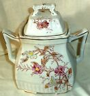 W & E Corn Ironstone Large Sugar Bowl Pink Blue Primrose Gold  Burslem 1864-90
