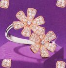 AVON Sterling Silver Flower Ring Rose Gold Plated CZ Cubic Zirconia SIZE 11 NEW
