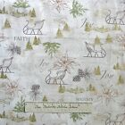 Woodland Christmas Fabric - Beige Sleigh Pine Tree Poinsettia - Red Rooster YARD
