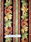 Harvest Breeze Fabric - Leaf Stripe Thanksgiving Fall - Red Rooster YARD