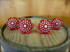 4 RED VINTAGE-STYLE FLORAL DRAWER PULLS HANDLES KNOBS metal shabby chic hardware