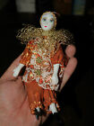 Small  Mardi Gras Clown Masquerade Carnaval Porcelain Doll orange