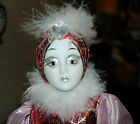 Mardi Gras Clown Masquerade Carnaval Porcelain Doll red & pink costume