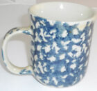 Folk Craft Hearts by Tienshan Coffee Mug Off White Dark Blue Sponge VG