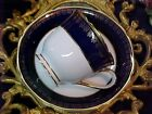 Vintage Cobalt Blue & Gold Kokura Ware Demitasse Bone China Cup & Saucer Japan