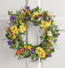 PRETTY FLORAL SPRINGTIME WILD FLOWER DAISY SUMMER DOOR WREATH WREATHS NEW