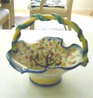 vintage made in Italy ceramic basket with flower decoration 7