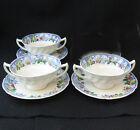 ROYAL DOULTON POMEROY BLUE MULTICOLOR FOOTED CREAM SOUP BOWL SAUCER D5472 three
