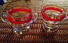 Cherry Vintage Candy Stripe Red Orange Glass Creamer And Sugar Breakfast Set