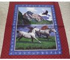 Horses Patriots Point Quilt top Wall hanging Panel Fabric Cotton Eagle US Flag