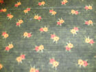 1 FQ Red Rooster Quilt Fabric Flowers on a Olive Green Background OOp