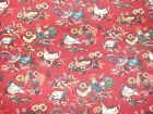 1 Yd American Homestead Quilt Fabric Red Rooster Chicken Sunflowers Flowers
