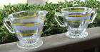 BARTLETT COLLINS GLASS CREAMER & SUGAR BLUE & GOLD STRIPE FOOTED VINTAGE