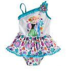 Disney Store Frozen 1pc Elsa Anna Princess Swimsuit Girls sz 2 3 4 5/6 7/8 9/10