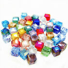 50 100pcs Faceted Square Cube Glass Crystal Loose Spacer Beads Charm Finding 6mm