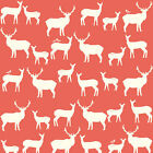 Birch Fabric ELK FAMILY Coral Woodland Deer Silhouettes ORGANIC Cotton by YARD