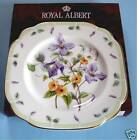 Royal Albert BOTANICAL TEAS Clematis Flower Square Salad Dessert Plate New Boxed