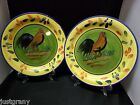 2 Style Eyes Baum Brothers Provence Rooster Collection Dinner Plates 10 1/2