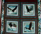 Eagle Quilt Fabric Pillow Panel Quest of the Hunter Teal Brown Eagles BTY
