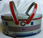 Vtg Decoware Art Deco Cookie Biscuit Tin Lunchbox Zephyr Train Lunch Box