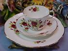 Royal Crest Rosina 3 Piece Trio Bone China Tea Cup & Saucer & Plate Red Roses