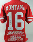 49ers Joe Montana Authentic Signed Red Jersey w Stats Autographed PSA DNA