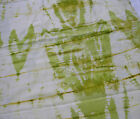 BATIK TIE DYED COTTON FABRIC OLIVE GREENS GOLD ON IVORY 46