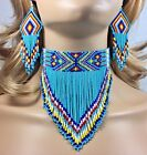 NATIVE BEADED TURQUOISE BLUE HANDCRAFTED CHOKER NECKLACE HOOK EARRINGS SET S18 6