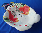 Fitz and Floyd Frosty Friends Snowman large serving bowl Christmas 15