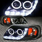 [HALO RINGS+LED DRL] FOR 1997-2003 FORD F150 BLACK AMBER PROJECTOR HEADLIGHTS