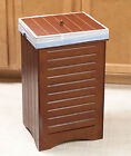 UNIQUE WOODEN NATURAL TRASH CAN BIN KITCHEN DECOR ORGANIZER NEW