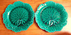 Pair of Antique Dark Green Cabbage Leaf Plates  Dishes Wedgwood Majolica
