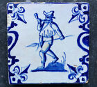 Antique Superb Dutch Delft Tile Hunter 17th C. Candelabrum