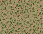 Holly Berry Vines on Kraft Christmas Tissue Paper  745 10 Lg Sheets