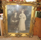 Antique Victorian Wedding Couple Photo in Heavily Carved Gilded Gold Gesso Frame