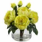 YELLOW ROSE  PEONY SILK FLOWER FLORAL ARRANGEMENT w VASE ARTIFICIAL FAKE