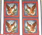 1 Yd Patriotic Quilt Fabric Pillow Panel Eagle Mountains Eagles Stars America