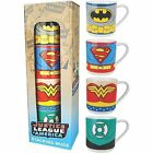 JUSTICE LEAGUE AMERICA SET OF 4 STACKING MUGS CERAMIC CUPS RETRO GIFT DC BATMAN