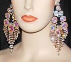 GOLD AB IRIDESCENT RHINESTONE CRYSTAL 6 CHANDELIER BRIDAL PARTY EARRINGS 7592
