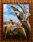 Pheasant Crested Ringneck Wall hanging Quilt top Panel Fabric Wildlife cotton