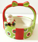 Fitz Floyd Christmas Santa Holiday Cheer Ceramic Basket with Handle