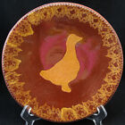 Foltz Redware Plate Jagged Edge Duck in Center PA Folk Art Signed Ned Foltz 1984