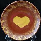 Foltz Redware Plate Jagged Edge Heart in Center Signed Ned Foltz Folk