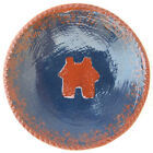 Foltz Redware Small Plate Jagged Edge House in Center Signed Ned Foltz Folk Art