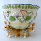 Fitz & Floyd Halcyon Footed Bowl with Three Bunnies Rabbits
